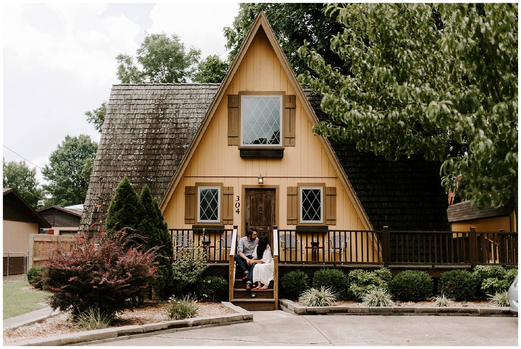 A-frame cabin engagement